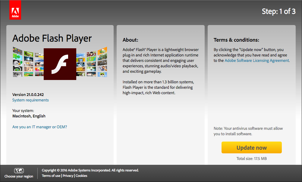 Adobe flash player for mac os sierra